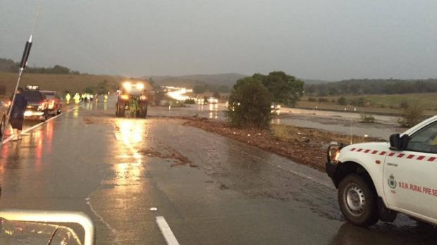 The NSW Rural Fire Service arrives to help stranded drivers on the Federal Highway.