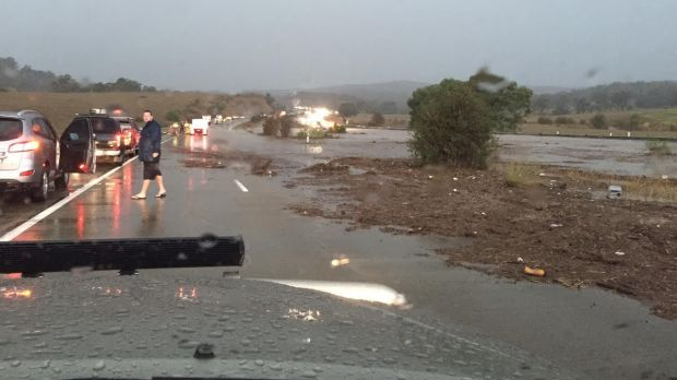 Debris over the road after the flooding.