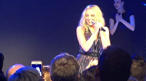 Kylie Minogue performed for the crowd featuring Ian Thorpe and Jennifer Hawkins after enjoying some down time in Byron ...