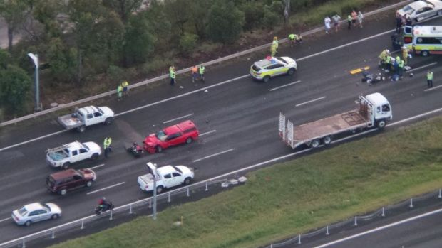 Emergency crews at the scene of a crash on the Bruce Highway at Murrumba Downs.