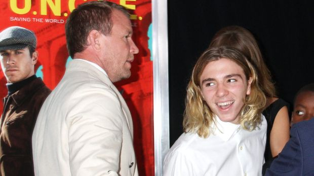 """Guy Ritchie and Rocco Ritchie attend """"The Man From U.N.C.L.E."""" New York Premiere - Inside Arrivals at Ziegfeld Theater ..."""