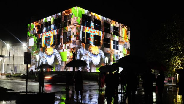 Questacon lights up during Enlighten 2016. The National Science and Technology Centre was won of the winners at the ...