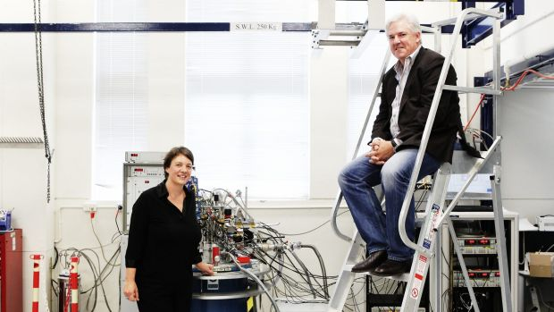 Professor Michelle Simmons and CBA CIO David Whiteing inside the quantum computing lab at UNSW.    Photo by Peter Braig ...