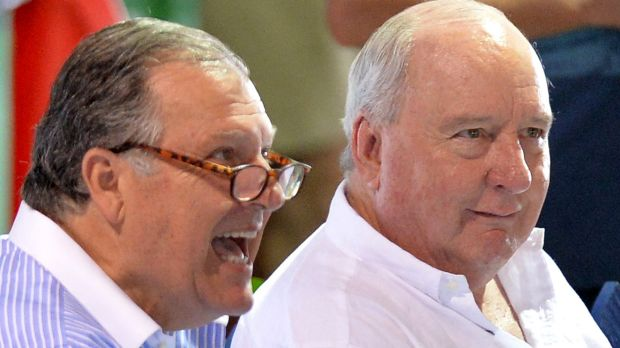 John Messara and Alan Jones share a laugh at the Magic Millions Yearling Sale Day on January 6 this year.