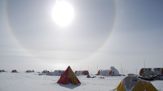 A solar halo above the Aurora Basin North campsite, 550 kilometres inland in Antarctica.