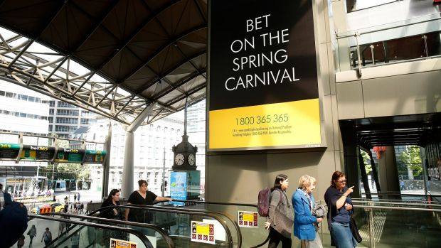 Advertising for online betting at Southern Cross Station.