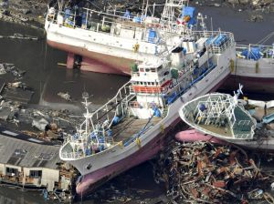 Vessels stranded in Kesennuma, Miyagi prefecture, in March 2011.
