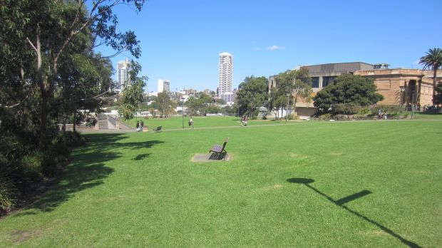 """The part of the Domain reclaimed from expressway after construction of the """"land ridge"""". Photo: Supplied by Andrew Andersons"""