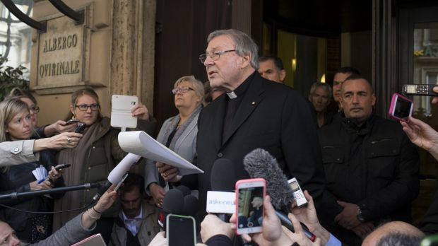 Cardinal George Pell reads a statement after a meeting at Rome's Quirinale hotel with the victims of child sex abuse on ...