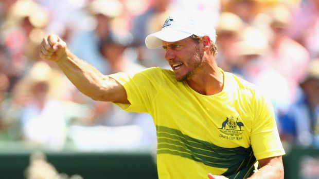Lleyton Hewitt on the opening day of the Australia-US Davis Cup clash.