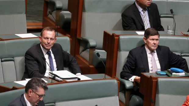 Former prime minister Tony Abbott and former defence minister Kevin Andrews on the backbench.