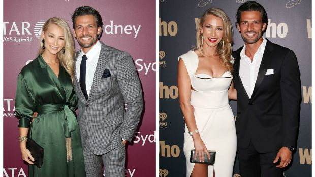 Anna Heinrich and Tim Robards at the Qatar Airways gala dinner (left) and at the Who's Sexiest People party in 2014.