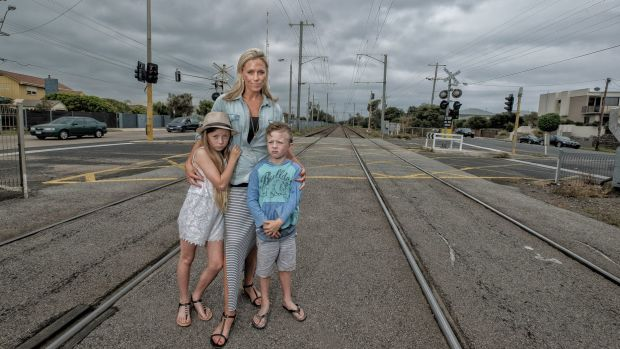 No sky rail on the Frankston line: Bonbeach resident Lori Weare and her children Sianna and Tahj are against the Andrews ...