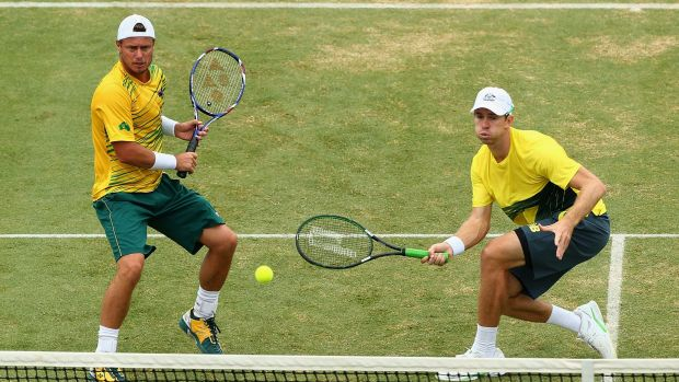 Solid pairing: Lleyton Hewitt and John Peers of Australia.