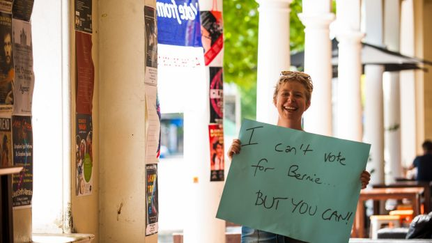 Emilie Carey of Hackett encourages American Democratic Party members living in Australia to cast their vote for the ...