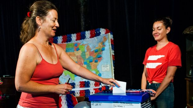 American Democratic Party member, Nancy Opdyke casts her vote in the presidential primaries in Canberra.