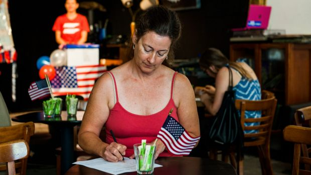 American Democratic Party member, Nancy Opdyke of Ainslie originally from Michigan, now living in Australia casts her ...