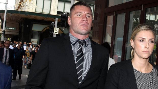 Acquitted: Shaun Kenny-Dowall leaves court on Monday after being found not guilty of assault.