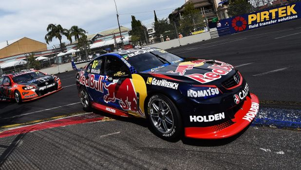 On top again: Jamie Whincup tears around Adelaide in his Red Bull.