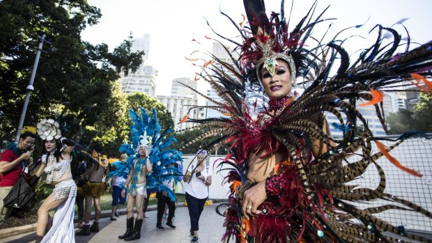 A spectacular feathered costume during the 2016 Gay and Lesbian Mardi Gras in Sydney.