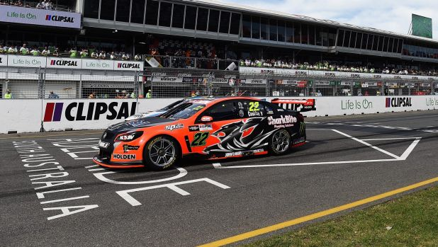 Tearing it up: James Courtney on his way to victory in race two.