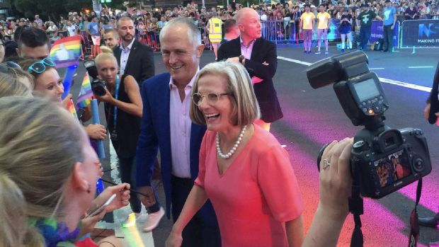 Prime Minister Malcolm Turnbull and Lucy Turnbull arrive at Kinselas for the 2016 Gay Mardi Gras.