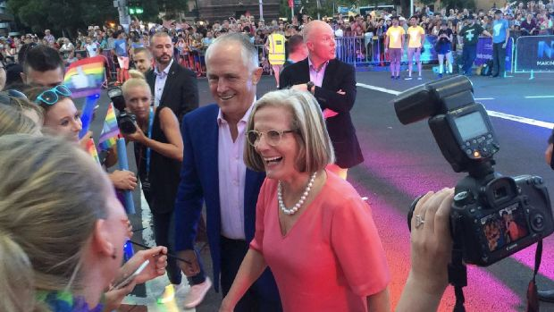 Prime Minister Malcolm Turnbull and wife Lucy greet revellers on Oxford Street at for Mardi Gras, ahead of not doing ...