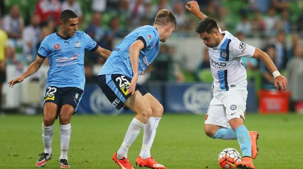 Melbourne City's three-goal hero Bruno Fornaroli (right) controls the ball under pressure against Sydney FC on Saturday.