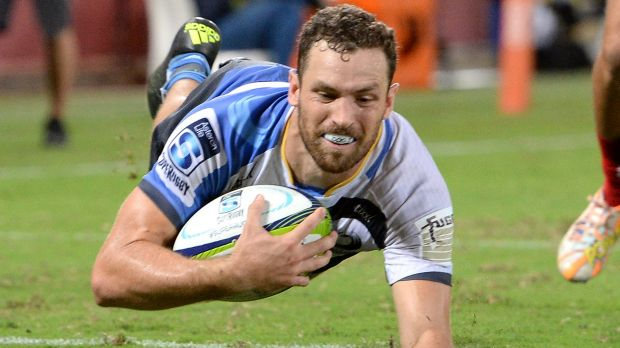 Just like that: Luke Morahan of the Force scores a try at Suncorp Stadium.