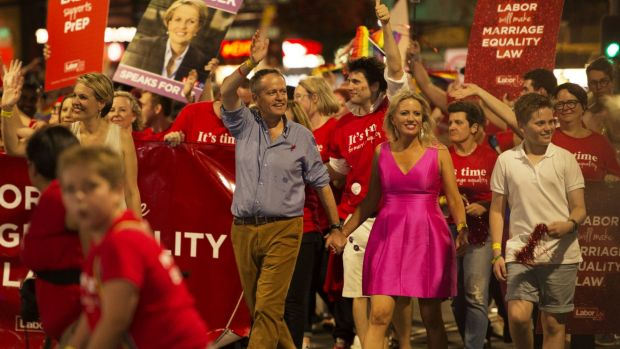 Bill and Chloe Shorten join the 2016 Gay and Lesbian Mardi Gras march.