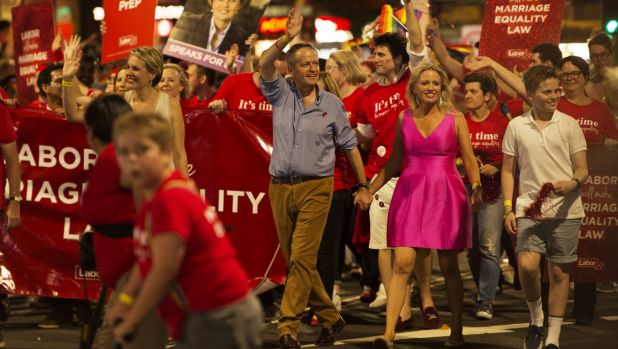 Mr Shorten with wife Chloe at the 2016 Gay and Lesbian Mardi Gras in March.