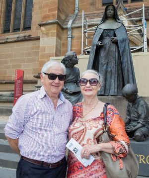 "Alan and Geraldine Lee from Brisbane after mass at St Mary's Cathedral: ""I don't think the man was evil, I think he just ..."