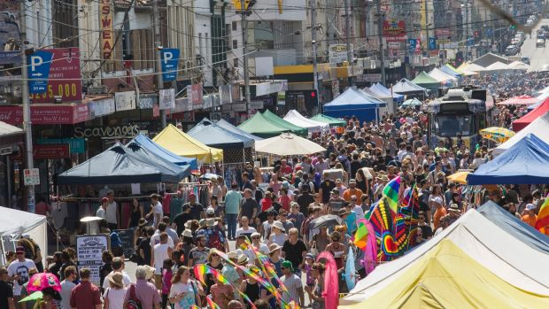 Revellers flocked to the Sydney Road Street Party in Brunswick on Sunday.