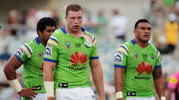 Exhausted Raiders forwards Sia Soliola, Shannon Boyd and Jeff Lima during Saturday's win over Penrith.