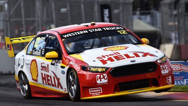 Fabian Coulthard drives during qualifying for the V8 Supercars Clipsal 500 before the Storm