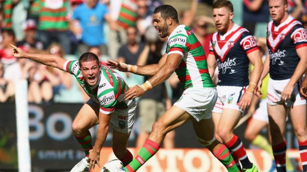 Delighted: Paul Carter celebrates scoring his try in the first half against the Sydney Roosters earlier this year.