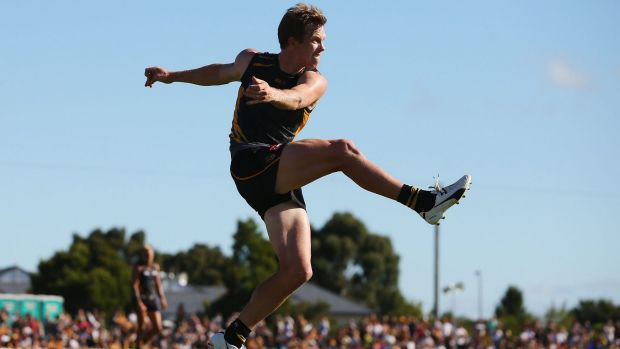 Kicking on: Jack Riewoldt boots the ball forward during a NAB Challenge match.