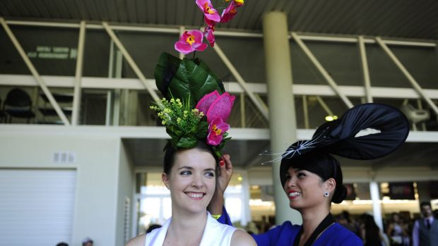 Samantha Wilkie, of Page, and Jess Adelan-Langford, of Holder, at the Black Opal Stakes day at Thoroughbred Park.
