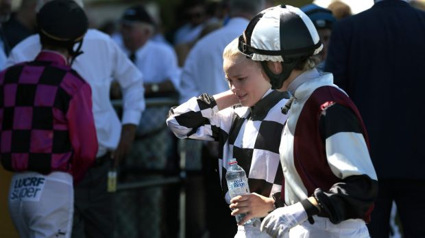 Jockey Winona Costin, left, with fellow jockey Kathy O'Hara.