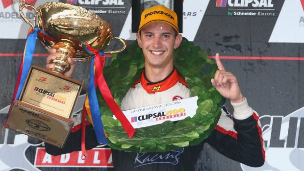 Fine driver: Nick Percat celebrates his win in the Clipsal 500.