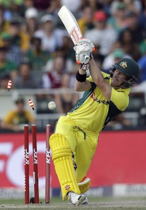 Australia's David Warner is bowled by Kagiso Rabada for 77 at the Wanderers stadium in Johannesburg on Sunday.