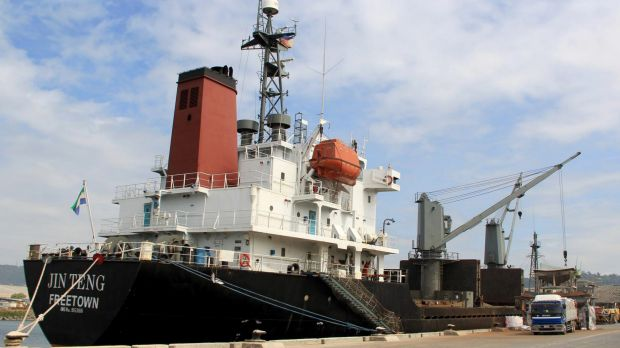The North Korean cargo vessel Jin Teng docked at Subic Bay, Philippines.