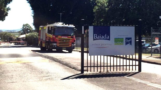 A fire truck leaves the Baiada factory in Beresfield, where there was a chemical leak on Monday morning.