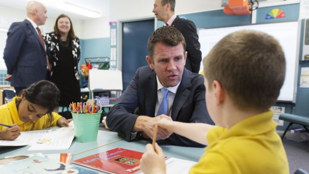 NSW premier Mike Baird and NSW Education Minister Adrian Piccoli visit Homebush West Public School in 2014 to make the ...