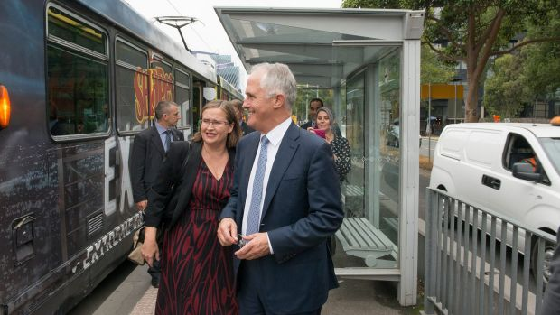 Malcom Turnbull with new Sex Discrimination Commissioner Kate Jenkins in Melbourne on Monday..