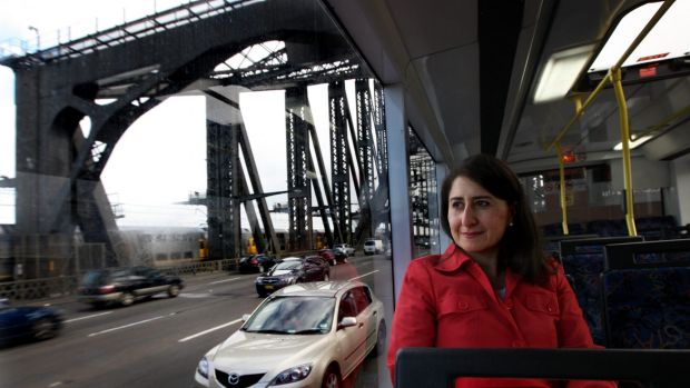 Gladys Berejiklian on the bus on her way to work from Willoughby.