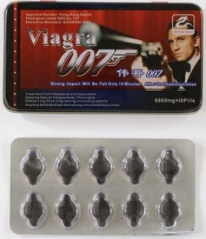 "Fake erectile pill Viagra 007, which promises to ""keep sexual fatigue away thoroughly""."