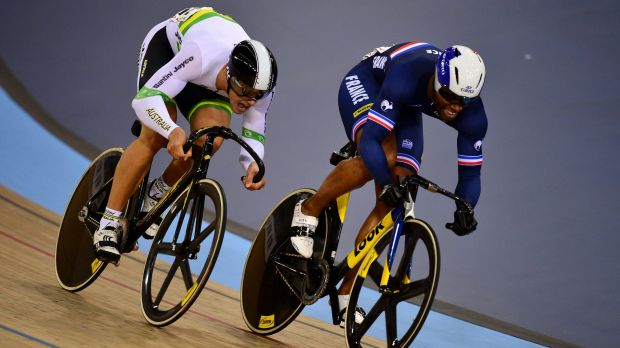 Hot pursuit:  Gregory Bauge of France (right) leads Matthew Glaetzer of Australia in the Men's Sprint Quarter Finals.