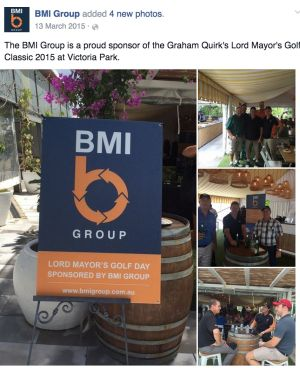 BMI sponsored a golf day for Lord Mayor Graham Quirk in 2015.