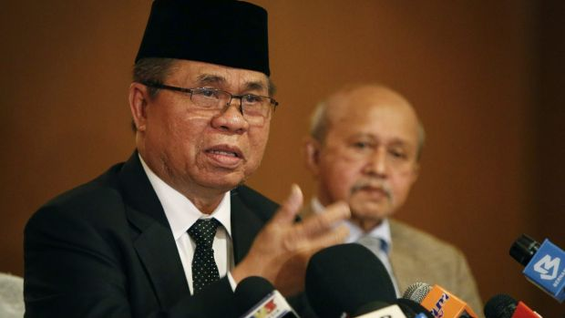 Murad Ebrahim, chairman of the Moro Islamic Liberation Front, speaks at a press conference in Kuala Lumpur on Monday.